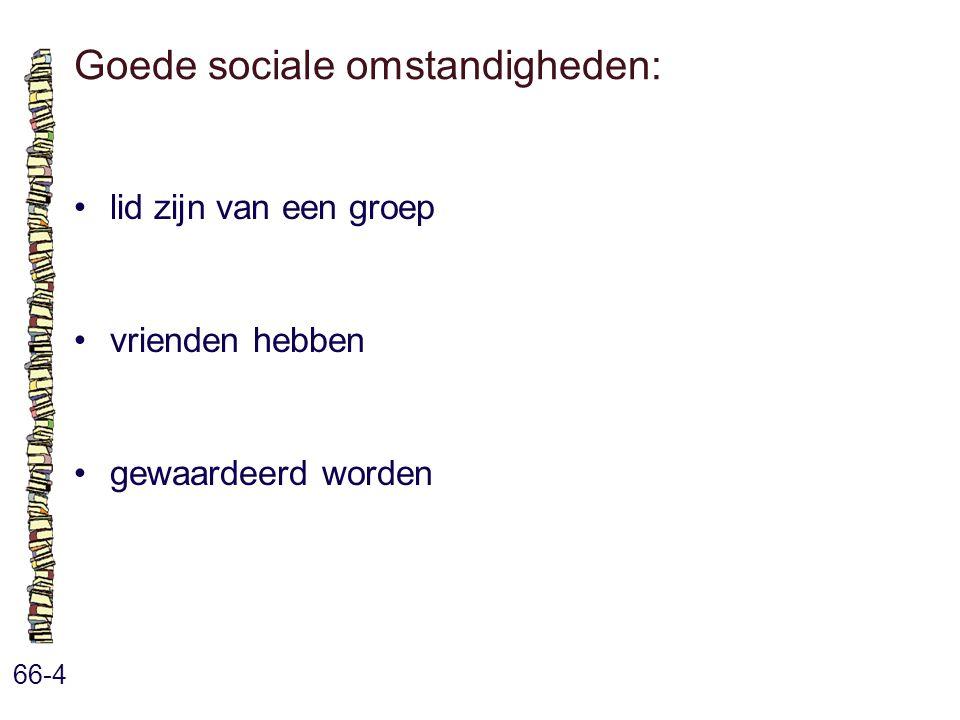 Goede sociale omstandigheden: 66-4 lid zijn van een groep vrienden hebben gewaardeerd worden