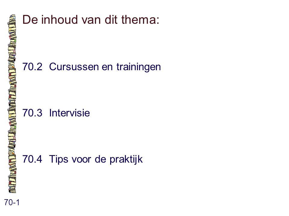 De inhoud van dit thema: 70-1 70.2 Cursussen en trainingen 70.3 Intervisie 70.4 Tips voor de praktijk