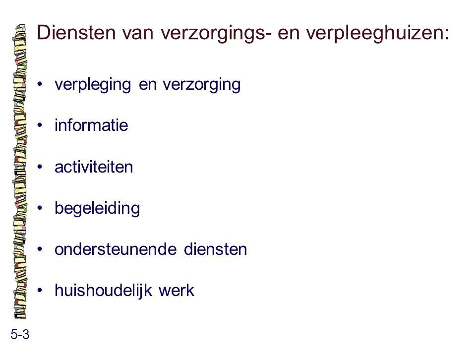 Diensten van verzorgings- en verpleeghuizen: 5-3 verpleging en verzorging informatie activiteiten begeleiding ondersteunende diensten huishoudelijk we
