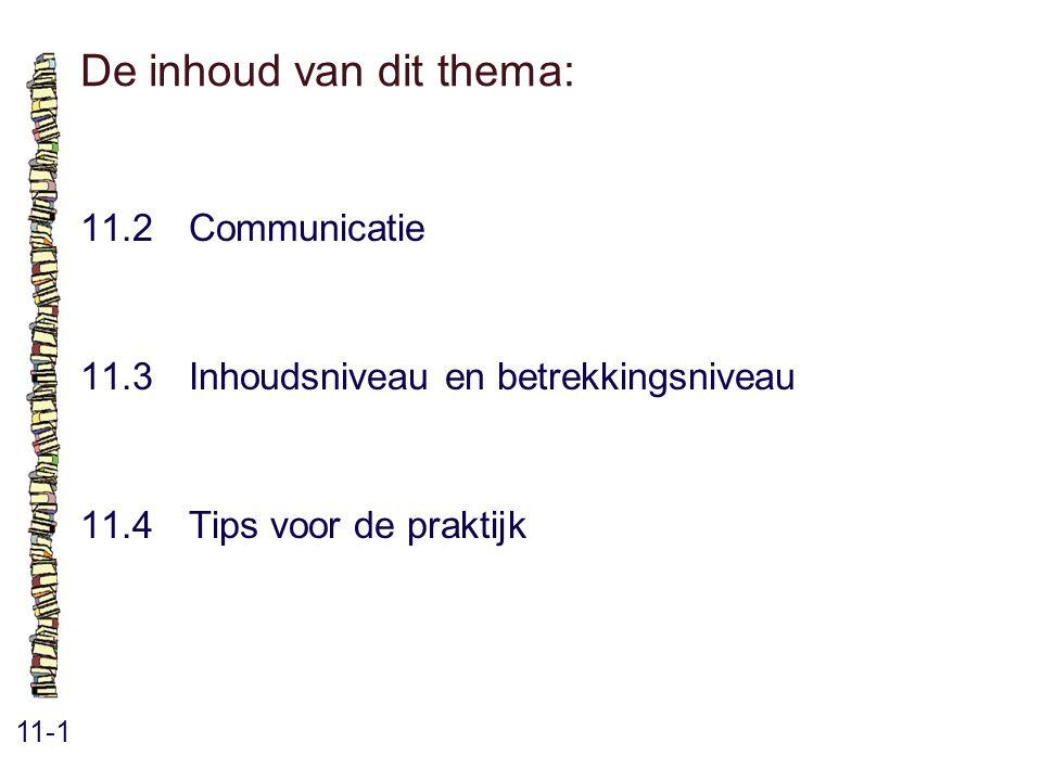De inhoud van dit thema: 11-1 11.2Communicatie 11.3 Inhoudsniveau en betrekkingsniveau 11.4 Tips voor de praktijk
