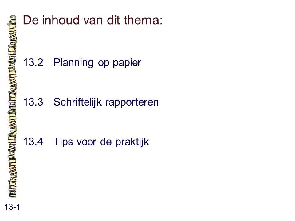 De inhoud van dit thema: 13-1 13.2 Planning op papier 13.3 Schriftelijk rapporteren 13.4 Tips voor de praktijk