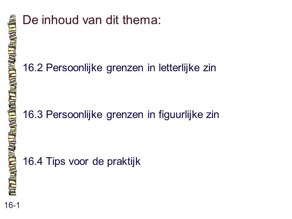 De inhoud van dit thema: 16-1 16.2 Persoonlijke grenzen in letterlijke zin 16.3 Persoonlijke grenzen in figuurlijke zin 16.4 Tips voor de praktijk