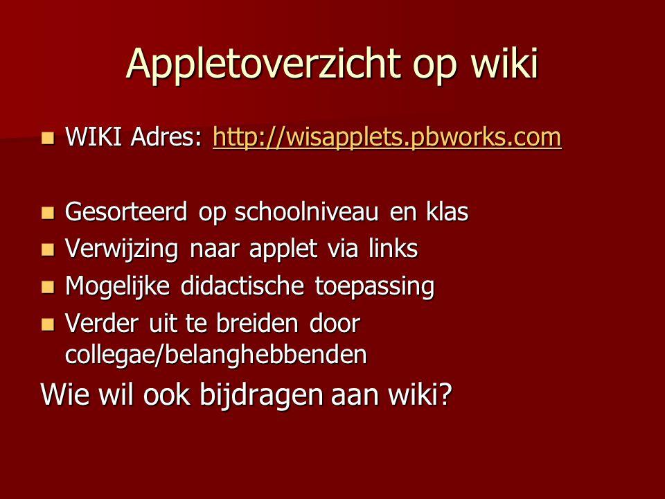 Appletoverzicht op wiki WIKI Adres: http://wisapplets.pbworks.com WIKI Adres: http://wisapplets.pbworks.comhttp://wisapplets.pbworks.com Gesorteerd op