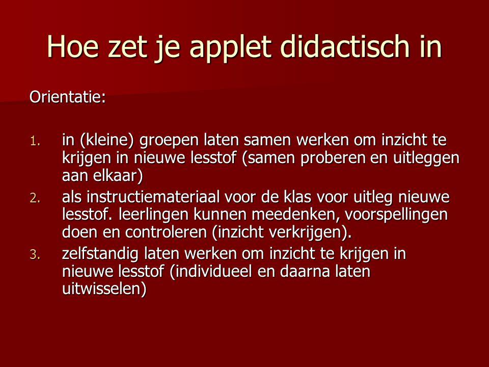Hoe zet je applet didactisch in Vaardigheden en onderzoeken: 4.