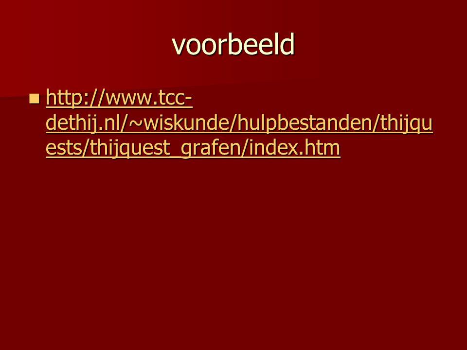 voorbeeld http://www.tcc- dethij.nl/~wiskunde/hulpbestanden/thijqu ests/thijquest_grafen/index.htm http://www.tcc- dethij.nl/~wiskunde/hulpbestanden/t