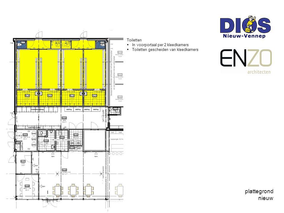plattegrond nieuw Toiletten  In voorportaal per 2 kleedkamers  Toiletten gescheiden van kleedkamers