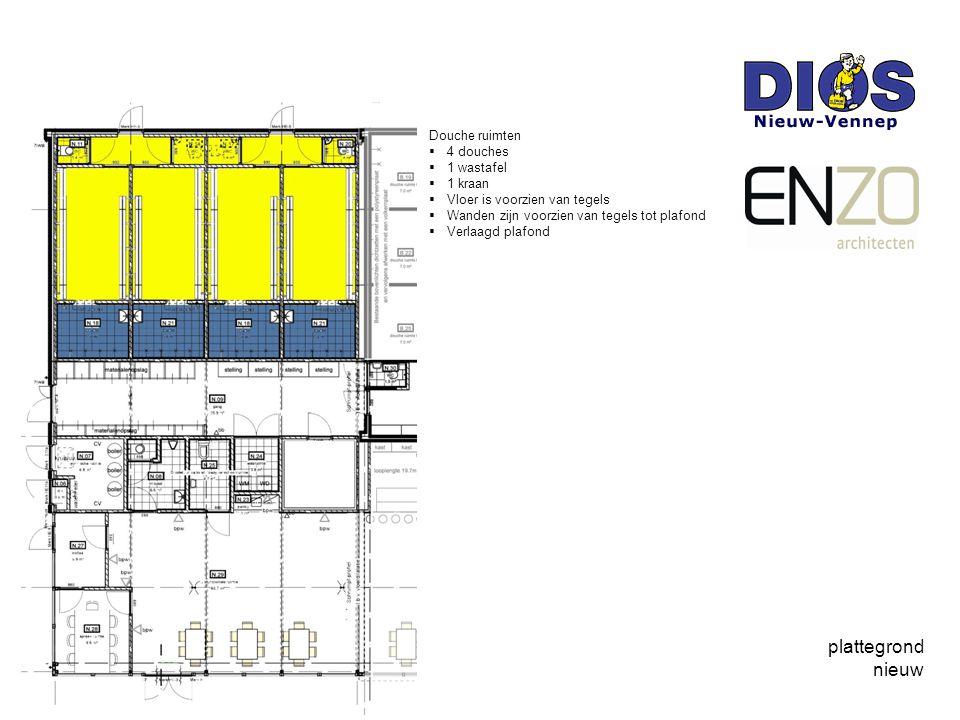 plattegrond nieuw Douche ruimten  4 douches  1 wastafel  1 kraan  Vloer is voorzien van tegels  Wanden zijn voorzien van tegels tot plafond  Verlaagd plafond