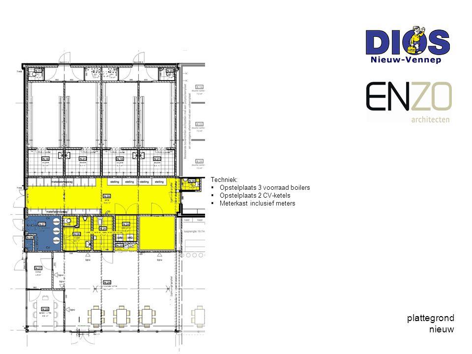plattegrond nieuw Techniek:  Opstelplaats 3 voorraad boilers  Opstelplaats 2 CV-ketels  Meterkast inclusief meters