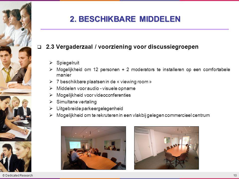 10© Dedicated Research  2.3 Vergaderzaal / voorziening voor discussiegroepen  Spiegelruit  Mogelijkheid om 12 personen + 2 moderators te installere