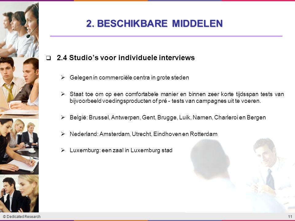 11© Dedicated Research  2.4 Studio's voor individuele interviews  Gelegen in commerciële centra in grote steden  Staat toe om op een comfortabele m
