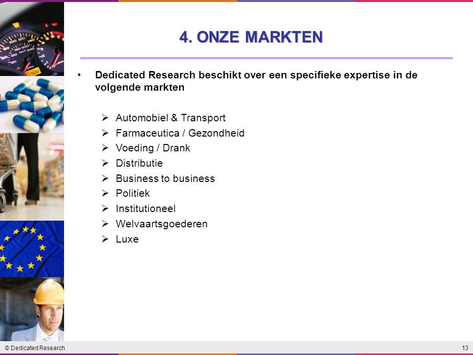 © Dedicated Research13 Dedicated Research beschikt over een specifieke expertise in de volgende markten  Automobiel & Transport  Farmaceutica / Gezo
