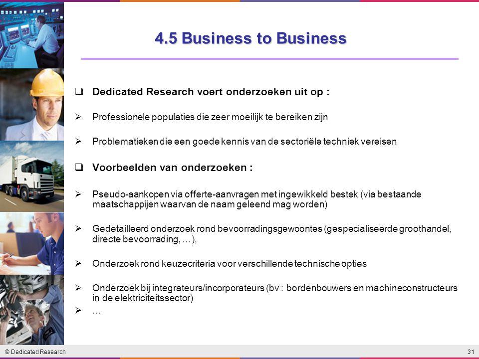 © Dedicated Research31  Dedicated Research voert onderzoeken uit op :  Professionele populaties die zeer moeilijk te bereiken zijn  Problematieken