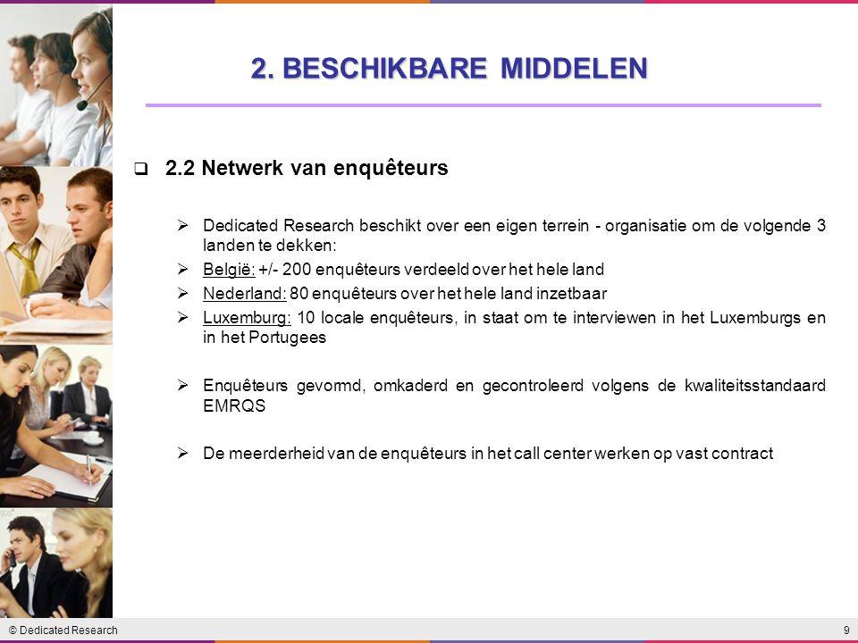 9© Dedicated Research  2.2 Netwerk van enquêteurs  Dedicated Research beschikt over een eigen terrein - organisatie om de volgende 3 landen te dekke