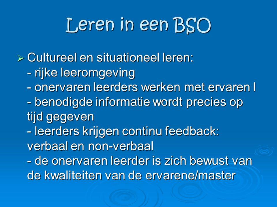 Leren in een BSO  Cultureel en situationeel leren: - rijke leeromgeving - onervaren leerders werken met ervaren l - benodigde informatie wordt precie