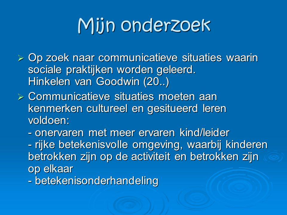 Mijn onderzoek  Op zoek naar communicatieve situaties waarin sociale praktijken worden geleerd. Hinkelen van Goodwin (20..)  Communicatieve situatie