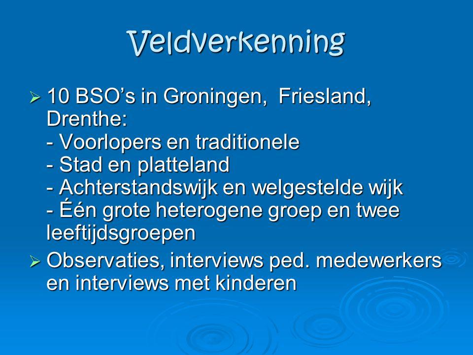 Veldverkenning  10 BSO's in Groningen, Friesland, Drenthe: - Voorlopers en traditionele - Stad en platteland - Achterstandswijk en welgestelde wijk -