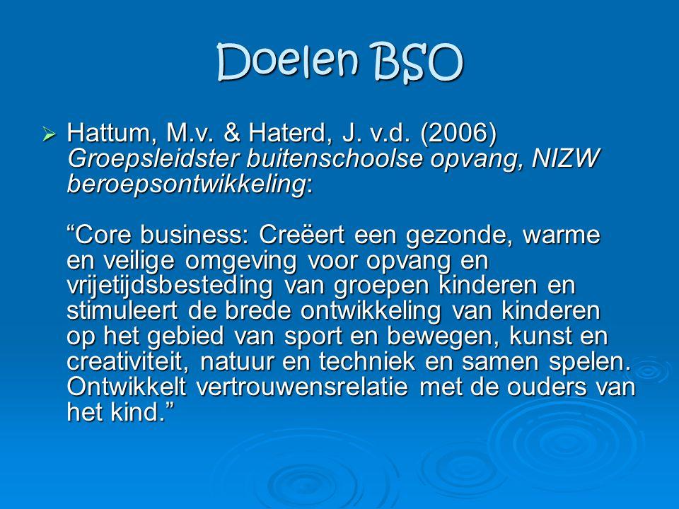 """Doelen BSO  Hattum, M.v. & Haterd, J. v.d. (2006) Groepsleidster buitenschoolse opvang, NIZW beroepsontwikkeling: """"Core business: Creëert een gezonde"""