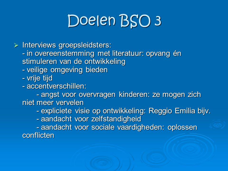 Doelen BSO 3  Interviews groepsleidsters: - in overeenstemming met literatuur: opvang én stimuleren van de ontwikkeling - veilige omgeving bieden - v
