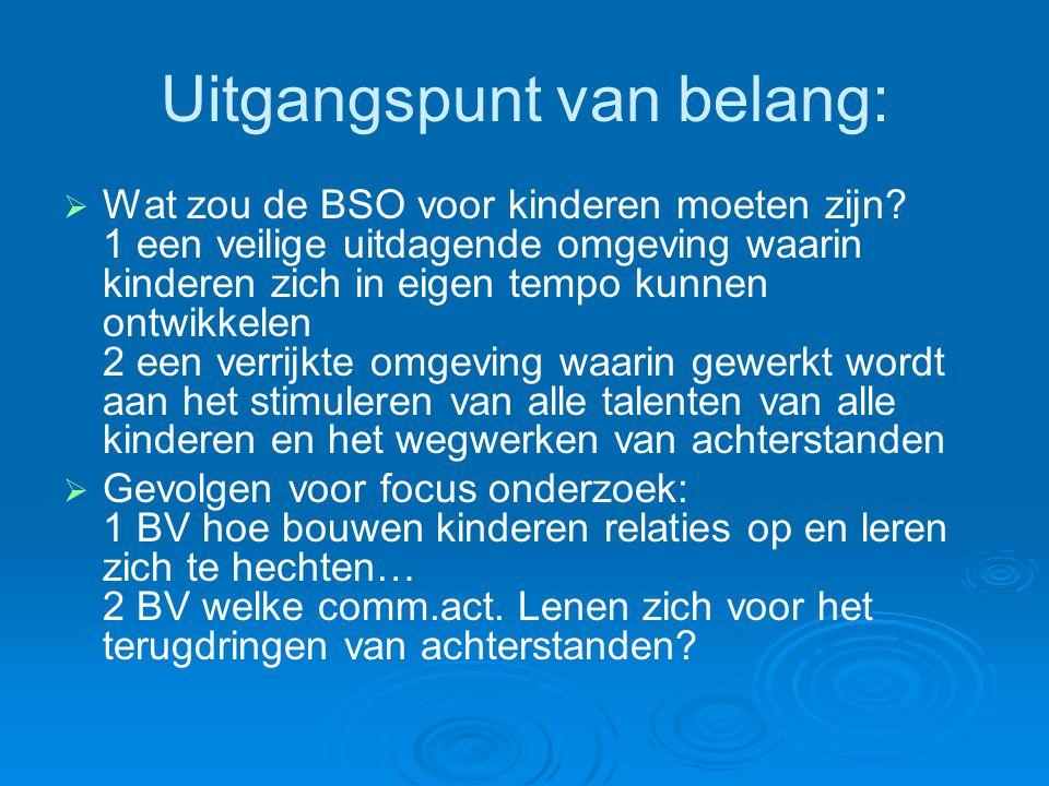 Uitgangspunt van belang:   Wat zou de BSO voor kinderen moeten zijn? 1 een veilige uitdagende omgeving waarin kinderen zich in eigen tempo kunnen on