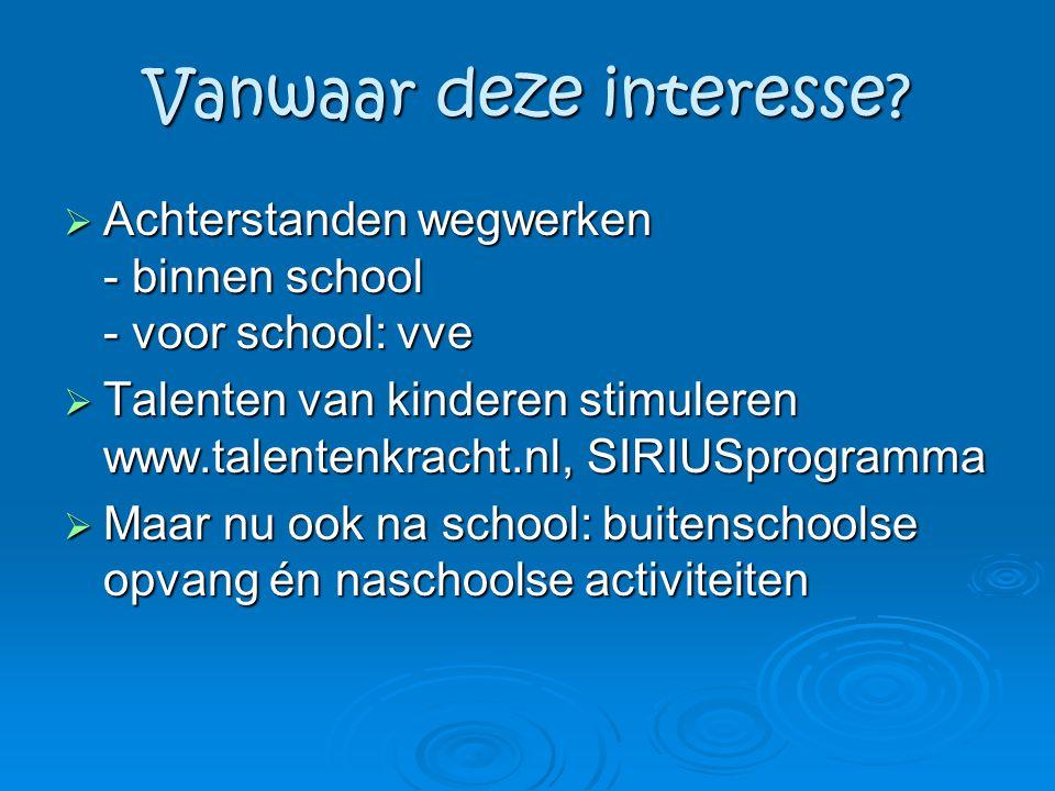 Vanwaar deze interesse?  Achterstanden wegwerken - binnen school - voor school: vve  Talenten van kinderen stimuleren www.talentenkracht.nl, SIRIUSp