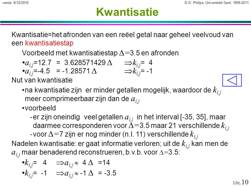 © W. Philips, Universiteit Gent, 1999-2011versie: 8/12/2010 10c. 10 Kwantisatie Kwantisatie=het afronden van een reëel getal naar geheel veelvoud van