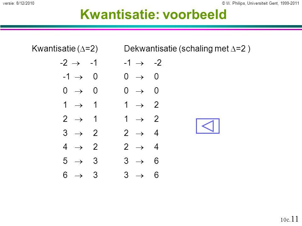 © W. Philips, Universiteit Gent, 1999-2011versie: 8/12/2010 10c. 11 Kwantisatie: voorbeeld Kwantisatie (  =2) -2  -1 -1  0 0  0 1  1 2  1 3  2