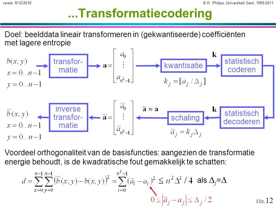© W. Philips, Universiteit Gent, 1999-2011versie: 8/12/2010 10c. 12...Transformatiecodering Doel: beelddata lineair transformeren in (gekwantiseerde)