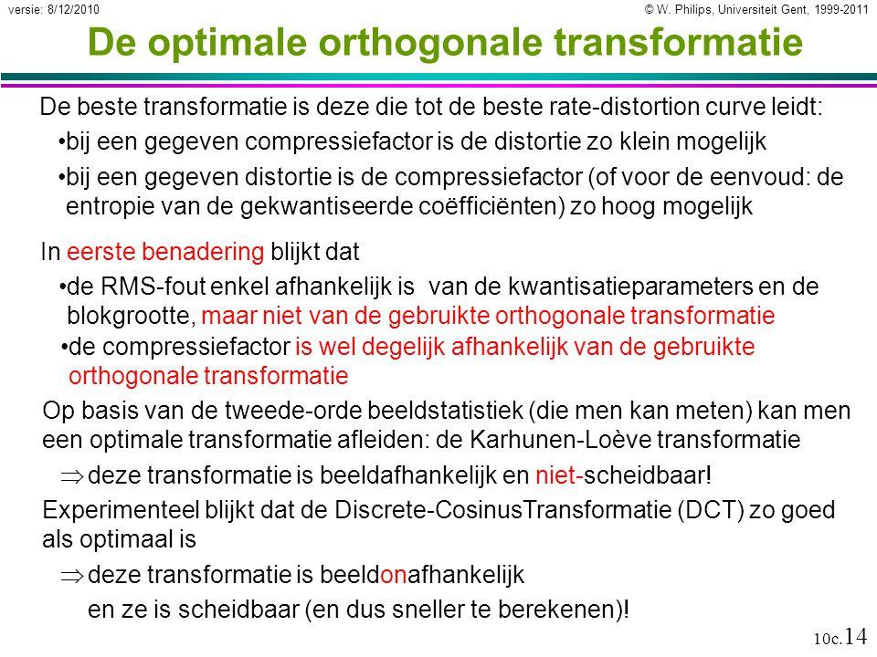© W. Philips, Universiteit Gent, 1999-2011versie: 8/12/2010 10c. 14 De optimale orthogonale transformatie De beste transformatie is deze die tot de be