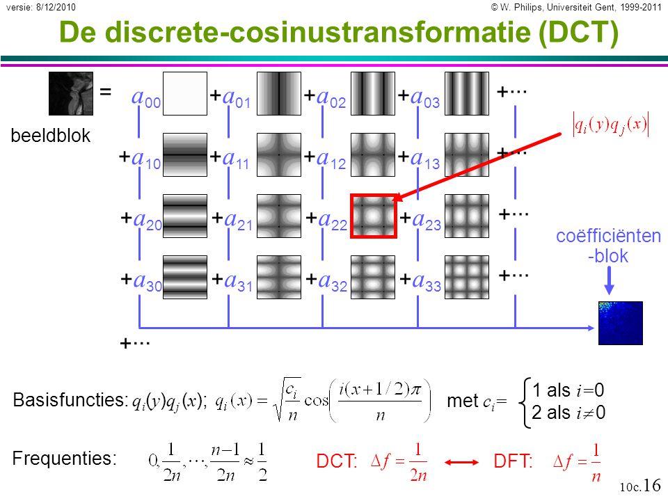 © W. Philips, Universiteit Gent, 1999-2011versie: 8/12/2010 10c. 16 De discrete-cosinustransformatie (DCT) +··· coëfficiënten -blok a 00 + a 01 + a 02