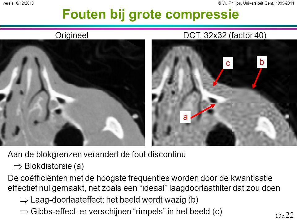 © W. Philips, Universiteit Gent, 1999-2011versie: 8/12/2010 10c. 22 OrigineelDCT, 32x32 (factor 40) a b c Fouten bij grote compressie Aan de blokgrenz