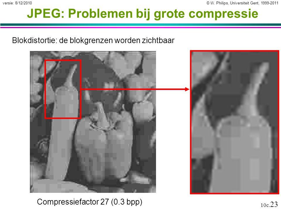 © W. Philips, Universiteit Gent, 1999-2011versie: 8/12/2010 10c. 23 JPEG: Problemen bij grote compressie Blokdistortie: de blokgrenzen worden zichtbaa