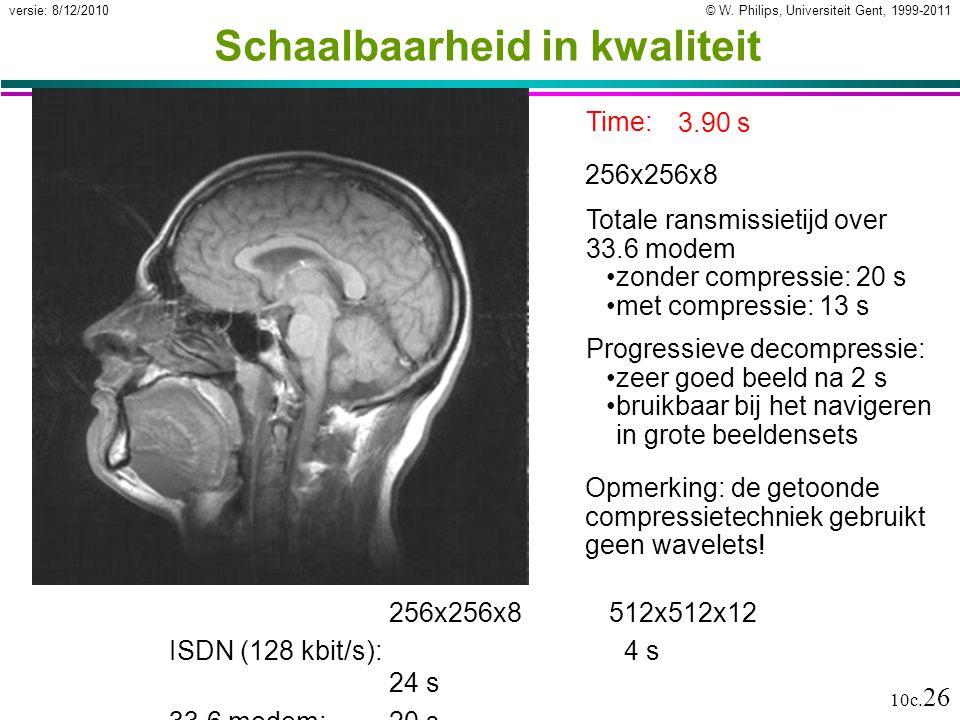 © W. Philips, Universiteit Gent, 1999-2011versie: 8/12/2010 10c. 26 Schaalbaarheid in kwaliteit 256x256x8512x512x12 ISDN (128 kbit/s): 4 s 24 s 33.6 m