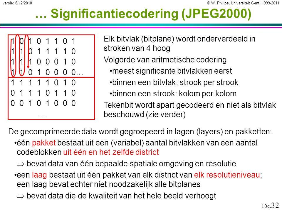 © W. Philips, Universiteit Gent, 1999-2011versie: 8/12/2010 10c. 32 … Significantiecodering (JPEG2000) Elk bitvlak (bitplane) wordt onderverdeeld in s