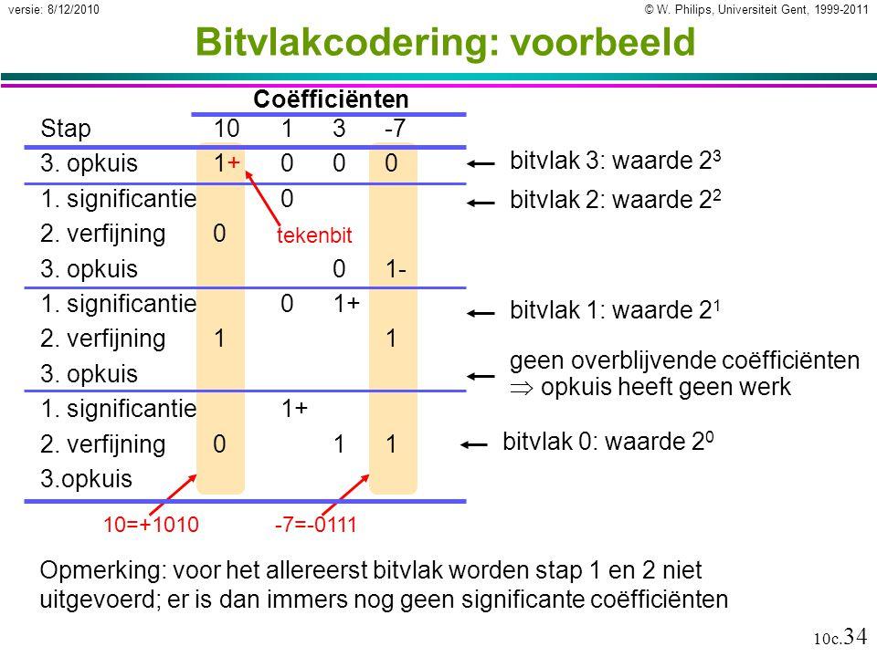 © W. Philips, Universiteit Gent, 1999-2011versie: 8/12/2010 10c. 34 -7=-011110=+1010 Bitvlakcodering: voorbeeld Stap1013-7 3. opkuis1+000 1. significa
