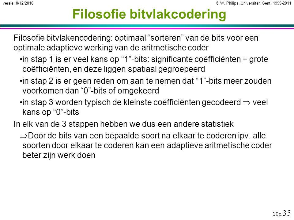 """© W. Philips, Universiteit Gent, 1999-2011versie: 8/12/2010 10c. 35 Filosofie bitvlakcodering Filosofie bitvlakencodering: optimaal """"sorteren"""" van de"""