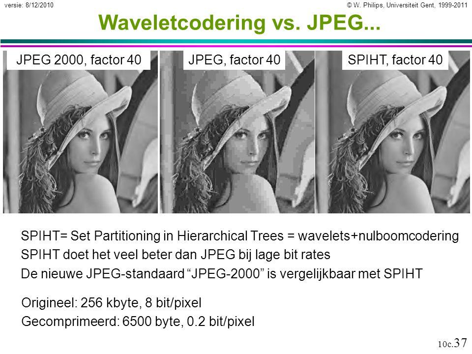 © W. Philips, Universiteit Gent, 1999-2011versie: 8/12/2010 10c. 37 Waveletcodering vs. JPEG... SPIHT= Set Partitioning in Hierarchical Trees = wavele