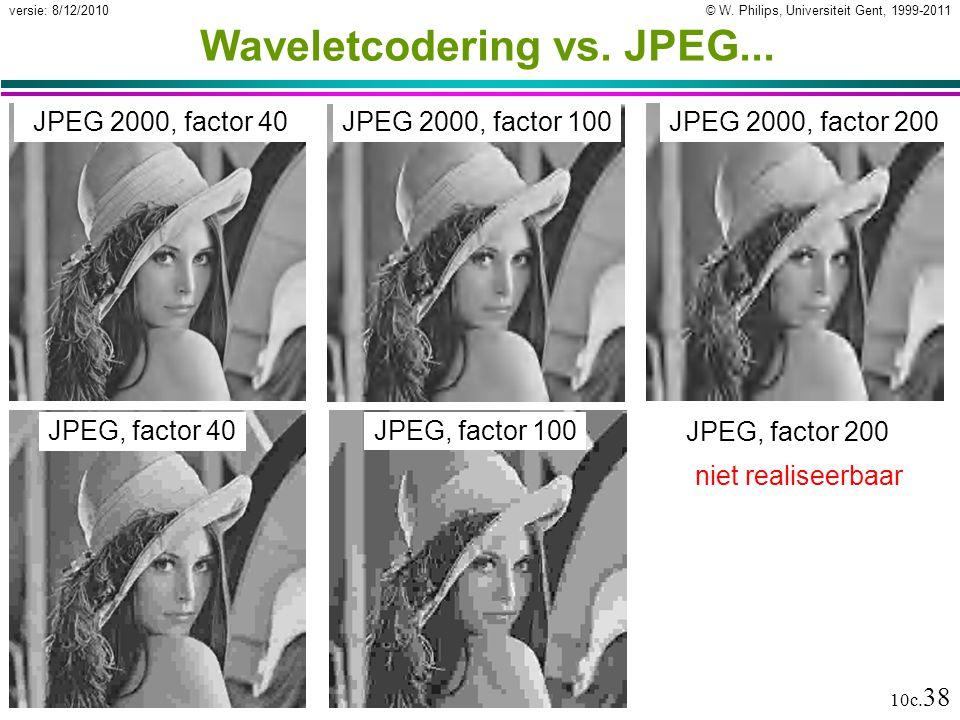 © W. Philips, Universiteit Gent, 1999-2011versie: 8/12/2010 10c. 38 Waveletcodering vs. JPEG... JPEG 2000, factor 40 JPEG, factor 40 JPEG 2000, factor