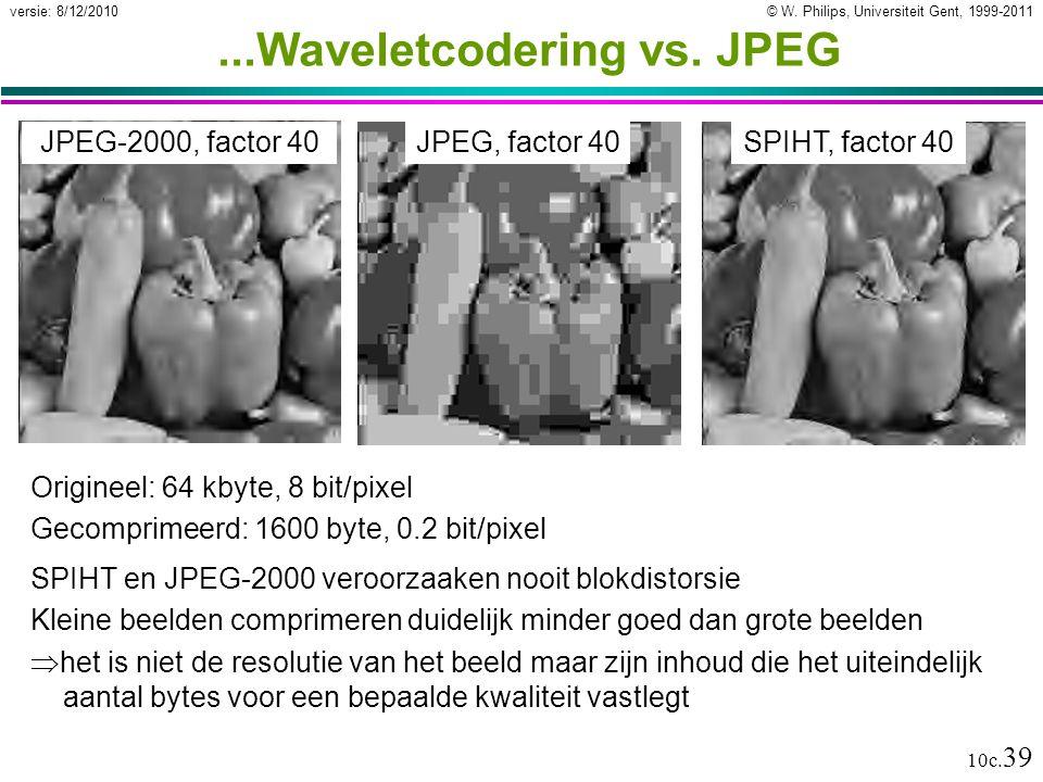 © W. Philips, Universiteit Gent, 1999-2011versie: 8/12/2010 10c. 39...Waveletcodering vs. JPEG SPIHT en JPEG-2000 veroorzaaken nooit blokdistorsie Kle