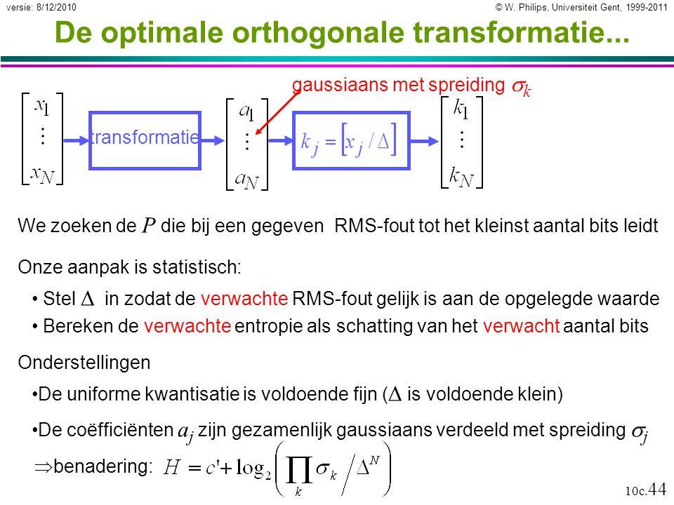 © W. Philips, Universiteit Gent, 1999-2011versie: 8/12/2010 10c. 44 transformatie gaussiaans met spreiding  k De optimale orthogonale transformatie..