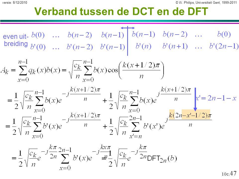 © W. Philips, Universiteit Gent, 1999-2011versie: 8/12/2010 10c. 47 Verband tussen de DCT en de DFT even uit- breiding