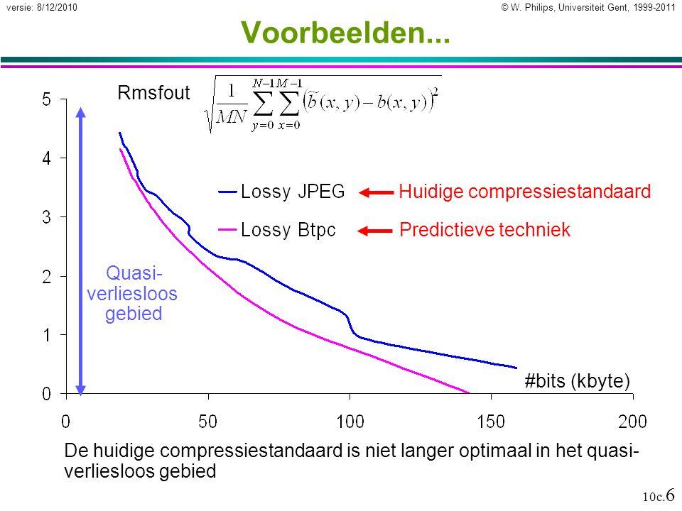 © W. Philips, Universiteit Gent, 1999-2011versie: 8/12/2010 10c. 6 Voorbeelden... #bits (kbyte) Rmsfout Huidige compressiestandaard Predictieve techni