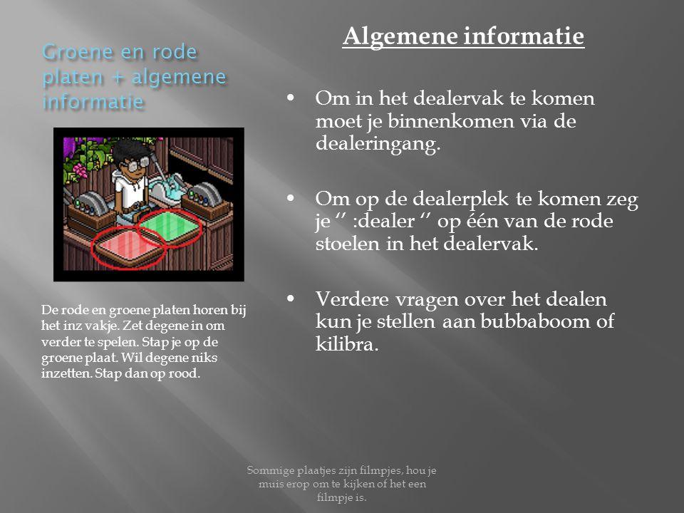 Groene en rode platen + algemene informatie De rode en groene platen horen bij het inz vakje.