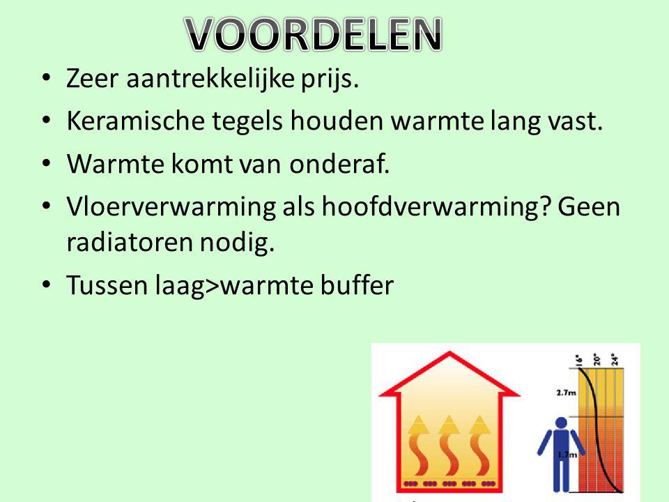 Zeer aantrekkelijke prijs. Keramische tegels houden warmte lang vast. Warmte komt van onderaf. Vloerverwarming als hoofdverwarming? Geen radiatoren no