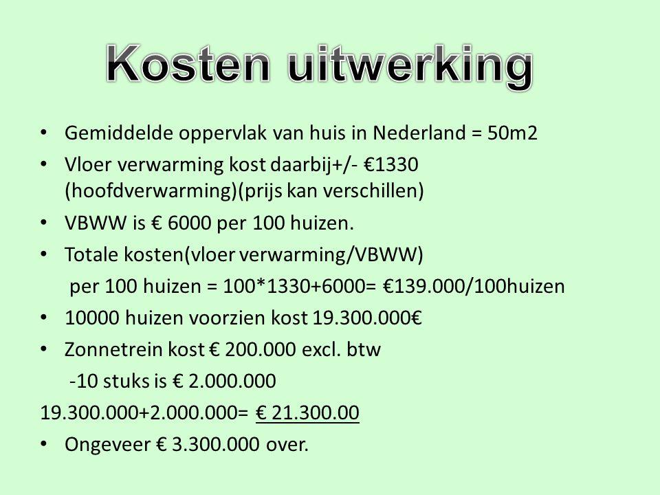Gemiddelde oppervlak van huis in Nederland = 50m2 Vloer verwarming kost daarbij+/- €1330 (hoofdverwarming)(prijs kan verschillen) VBWW is € 6000 per 1
