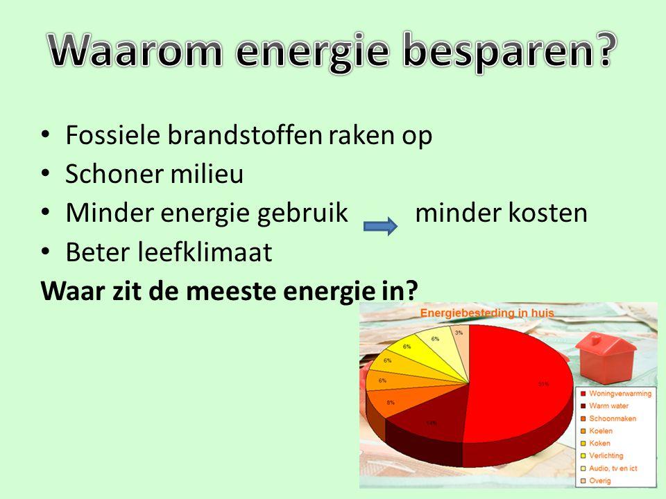 Fossiele brandstoffen raken op Schoner milieu Minder energie gebruik minder kosten Beter leefklimaat Waar zit de meeste energie in?