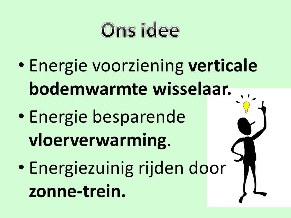 Energie voorziening verticale bodemwarmte wisselaar. Energie besparende vloerverwarming. Energiezuinig rijden door zonne-trein.