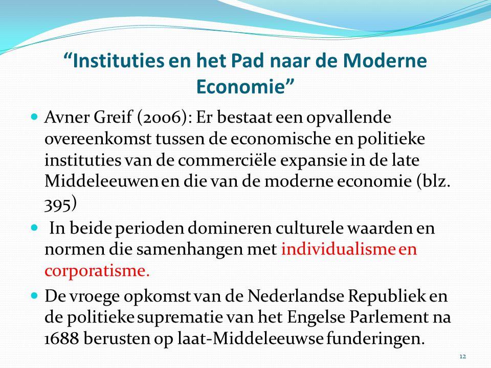 """""""Instituties en het Pad naar de Moderne Economie"""" Avner Greif (2006): Er bestaat een opvallende overeenkomst tussen de economische en politieke instit"""