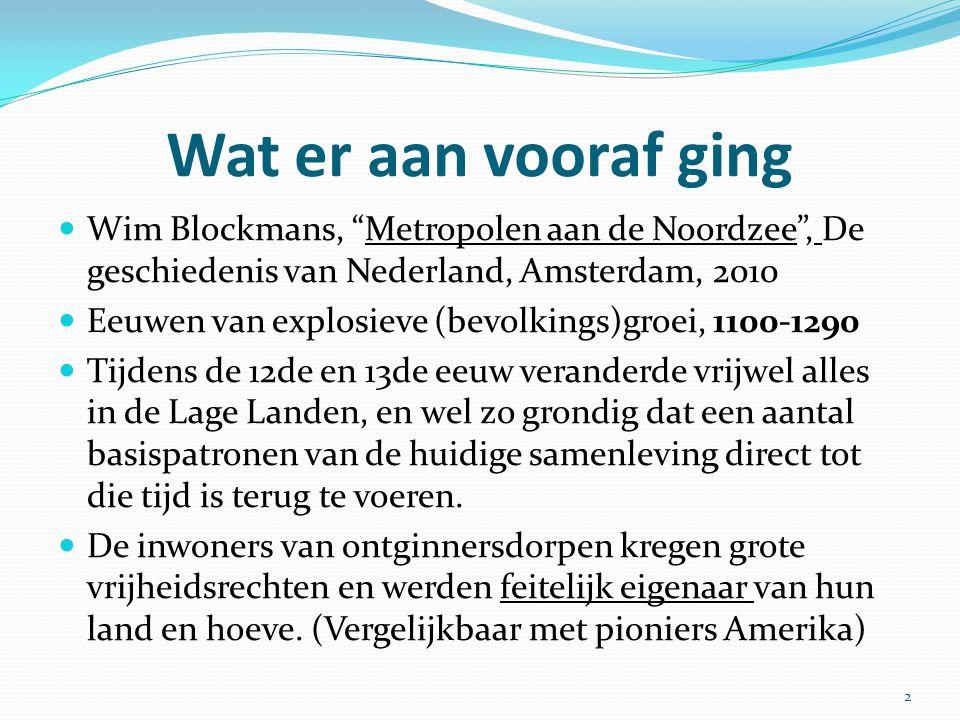 """Wat er aan vooraf ging Wim Blockmans, """"Metropolen aan de Noordzee"""", De geschiedenis van Nederland, Amsterdam, 2010 Eeuwen van explosieve (bevolkings)g"""