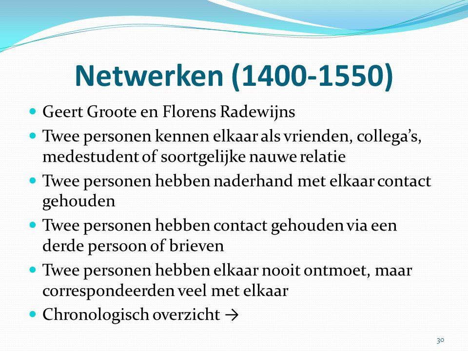 Netwerken (1400-1550) Geert Groote en Florens Radewijns Twee personen kennen elkaar als vrienden, collega's, medestudent of soortgelijke nauwe relatie