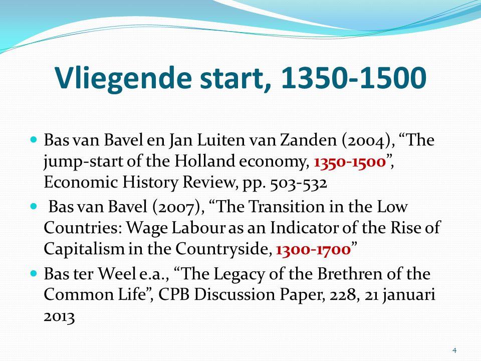 """Vliegende start, 1350-1500 Bas van Bavel en Jan Luiten van Zanden (2004), """"The jump-start of the Holland economy, 1350-1500"""", Economic History Review,"""